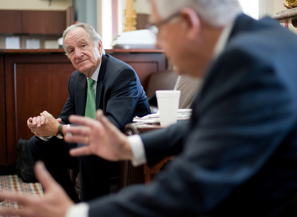 Nov 30, 2010 - Washington, District of Columbia, U.S. - Senators TOM HARKIN (D-IA) and MIKE ENZI (R-WY) (right) speak to the press about the food-safety bill that passed the Senate on Tuesday. (Credit Image: © Pete Marovich/ZUMA Press)
