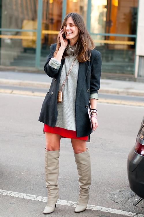 Red Miniskirt and Boots, Outside Alberta Ferretti