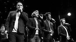 Soundcheck prior to G4 (Jonathan Ansell, Mike Christie, Ben Thapa and Nick Ashby) concert at Worthing Pavilion, Worthing on Sunday 19 March 2017 as part of their G4 Live In Concert Tour 2017  showcasing songs from their new 5th Studio album G4 Love Songs. Guests at this concert were multi-instrumentalist Oli Nez, Soprano Mary-Jess and Sorrelli Strings. Guests at the London venue on the tour held at Union Chapel were soprano Lesley Garrett and lead singer of The Osmonds, Merrill Osmond who both collaborated with the G4 Love Songs Album.<br /> <br /> This concert also included the debut performance of G4 Voices.This choir is based in Portsmouth but G4 are hoping to create branches of G4 Voices all around the country.