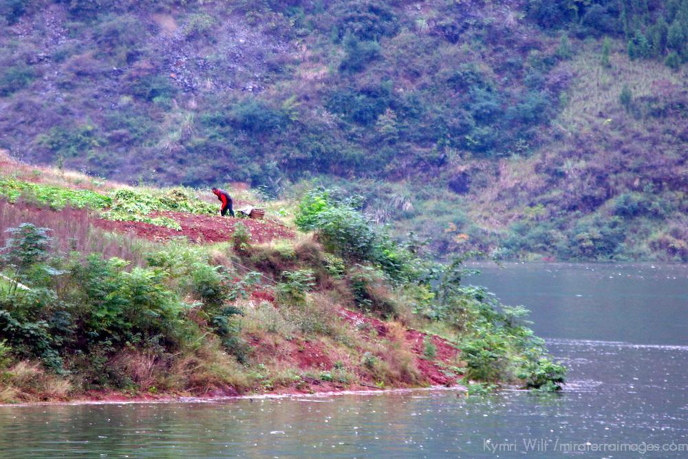 Asia, China, Yangtz River. Scene of rising waterline and landscape of the Yangtze River.