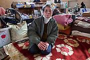 Chio Okamoto (78) at Nanminjoo Center, refugee Shelter at a junior highschool of Rikuzentakata