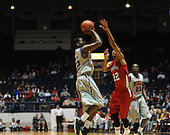 "Ole Miss' Jarvis Summers (32) shoots vs. Louisiana-Lafayette at C.M. ""Tad"" Smith Coliseum in Oxford, Miss. on Wednesday, December 14, 2011. (AP Photo/Oxford Eagle, Bruce Newman)"