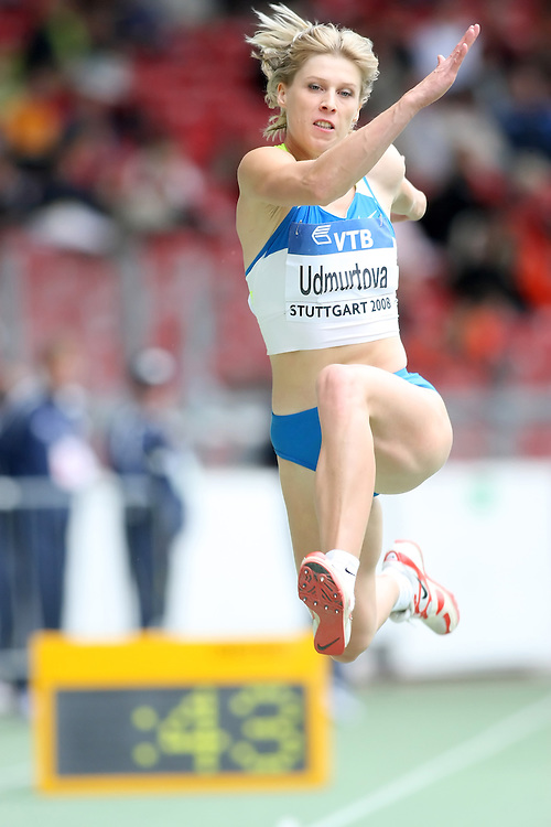 (Stuttgart, Germany---14 September 2008) Oksana Udmurtova of Russia jumping to fifth place in the triple jump at the 2008 World Athletics Final. [Copyright Sean W. Burges/Mundo Sport Images, 2008.]