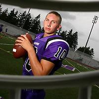 38827 082104<br /> Ryan Staudacher (CQ) Lake Washington QB<br /> Prep football portraits from KING-5 TV photo shoot at Lake Washington high school.
