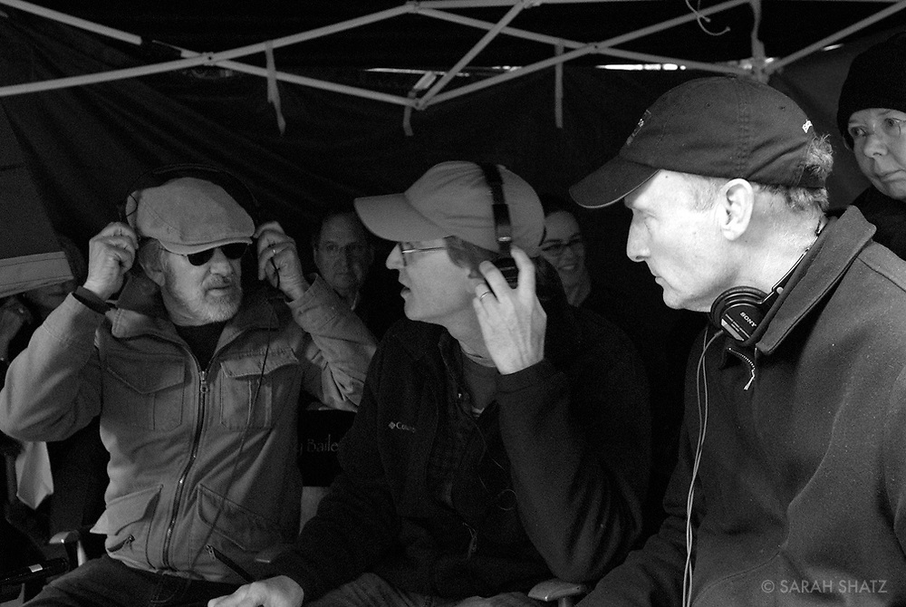 "Steven Spielberg, David Koepp, Ezra Swerdlow on the set of ""Ghost Town"" (Dir: David Koepp, 2008)"