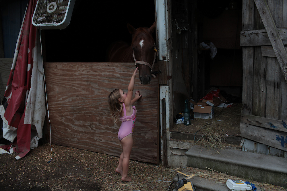 Hannah Melerine, 3, at home in Violet, LA on July 18, 2010. Her father Eric Malerine has been working for BP since the oil spill.