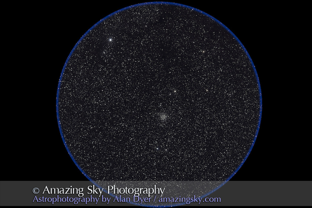 NGC 7789 area; taken August 15, 2007 from home. Stack of 3 x 4 minute exposures at ISO800 with Canon 20Da and 135mm L-lens at f/2.8. Field equals 7° bino field. Rho Cassiopeiae in field above NGC 7789