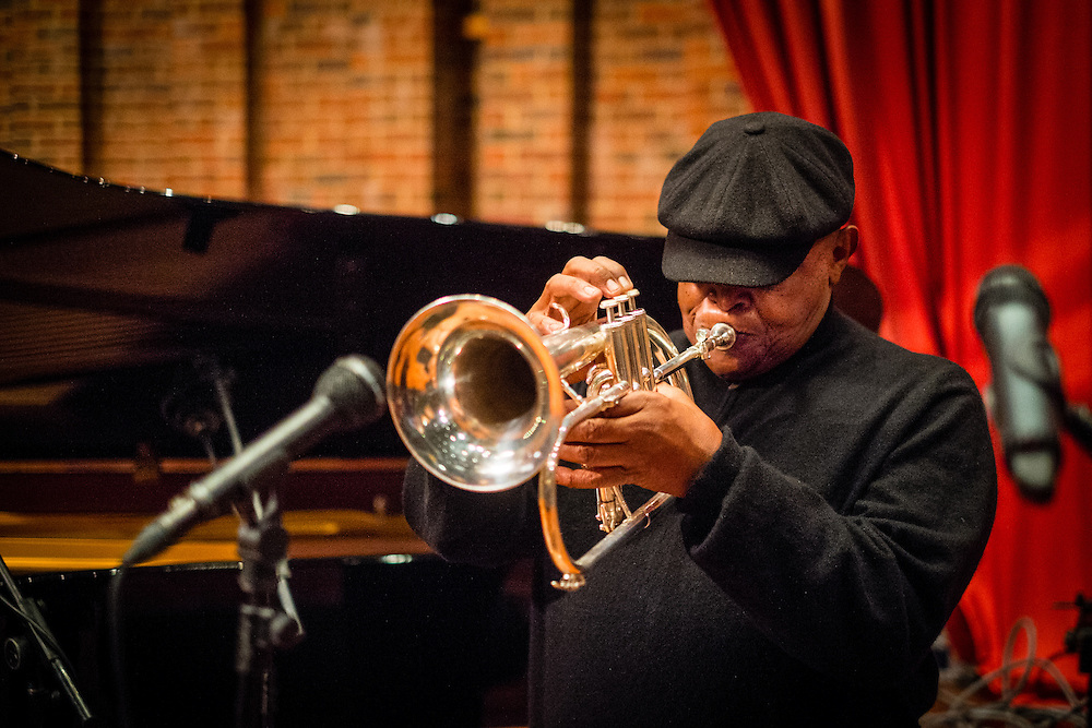 Hugh Masekela photographed during sound checks for his concert at the Turner Sims Concert Hall in Southampton, England.