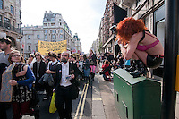 Slutwalk marches through London demanding that women not be blamed for rape 2012