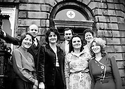 An Irish Red Cross Society/Cumann Croise Deirge h&Eacute;ireann medical team at the Society headquarters in Dublin, in advance of a humanitarian mission to Kampuchea (Cambodia) and Thailand. From left: Anne Hickey, Dr Pat Donohoe, Patricia Tobin, Michael McCarthy, Bridget Lyons, Philomena Mulligan and Katherine Hyland.<br />29 February 1980