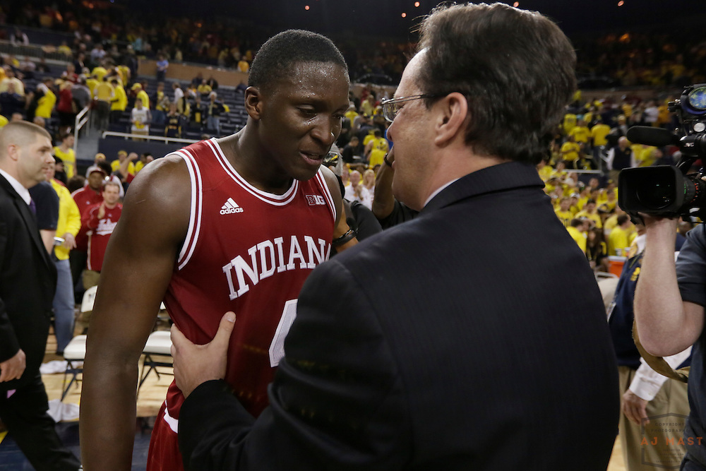 10 March 2013: Indiana guard Victor Oladipo (4) and Indiana head coach Tom Crean after the Indiana Hoosiers played the Michigan Wolverines in a college basketball game in Ann Arbor, Mich.