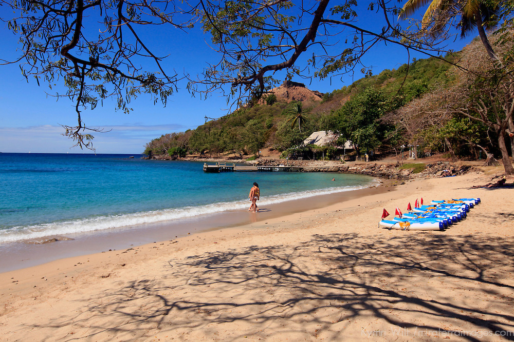 Americas, Caribbean, St. Lucia. The beach at Piegeon Island National Park.