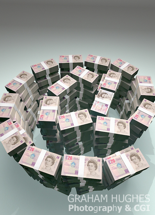 "Large stacks of £20 British Bank notes in shape of ""@"" symbol."