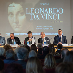 Foto Piero Cruciatti / LaPresse<br /> 14-04-2015 Milano, Italia<br /> Cultura<br /> Anteprima stampa della mostra &quot;Leonardo da Vinci 1452 - 1519&rdquo; a Palazzo Reale<br /> Nella Foto: Conferenza stampa di presentazione della mostra<br /> <br /> Photo Piero Cruciatti / LaPresse<br /> 14-04-2015 Milan, Italy<br /> Cultura<br /> Press preivew of the exhibition &quot;Leonardo da Vinci 1452 - 1519&rdquo; at Palazzo Reale <br /> In the Photo: Press conference before for the opening of the exhibition.