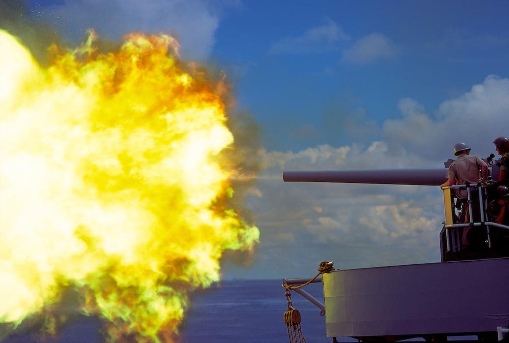 """5""""/38 Gunfire, Starboard mount, US Navy Heavy Cruiser USS Chicago, CG-11,."""