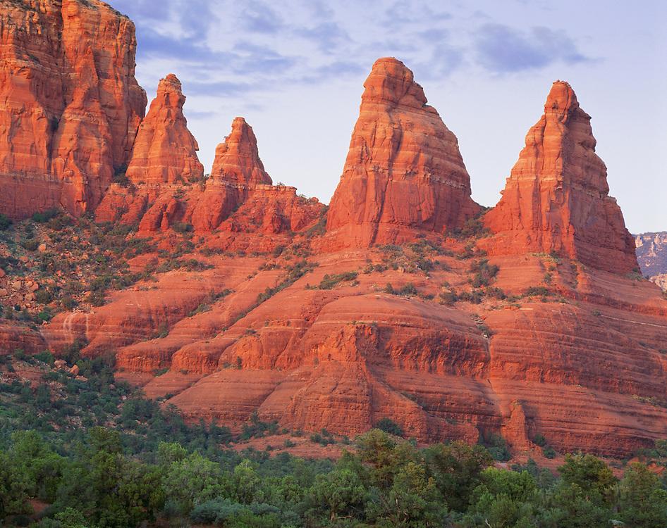 0142-1022B ~ Copyright: Sandstone formations 'Madonna and the Praying Nuns', at sunset.  Sedona.  Coconino National Forest, Arizona.