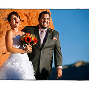 SHOT 10/6/2007 - Photos of Las Vegas, Nev. Includes images of Barry Gutierrez and Fairlight Baer as they are married at Valley of Fire State Park. Valley of Fire State Park is Nevada's oldest State Park. It covers an area of 34,880 acres and was dedicated in 1935..Valley of Fire is located 50 miles northeast of Las Vegas at an elevation of between 2,000 and 2,600 feet..(Photo by Marc Piscotty/ © 2007)