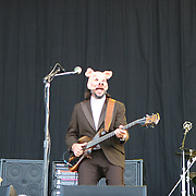June 16, 2006; Manchester, TN.  2006 Bonnaroo Music Festival..Oysterhead, who is singer/guitarist Trey Anastasio (Phish), singer/bassist Les Claypool (Primus), and drummer Stewart Copeland (The Police) performs at Bonnaroo 2006.  Photo by Bryan Rinnert