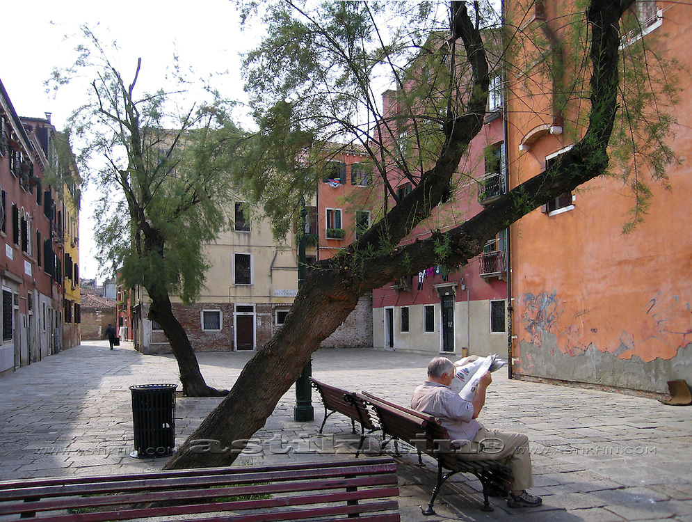 Court in Venice with two trees