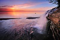 A Lake Superior sunset at Elliot Falls, Pictured Rocks National Lakeshore<br /> Michigan's Upper Peninsula