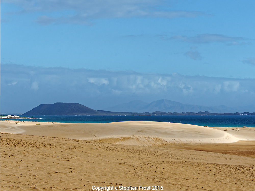 A large sandy beach. This is at Corralejo on Fuerteventura in the Canary Islands.