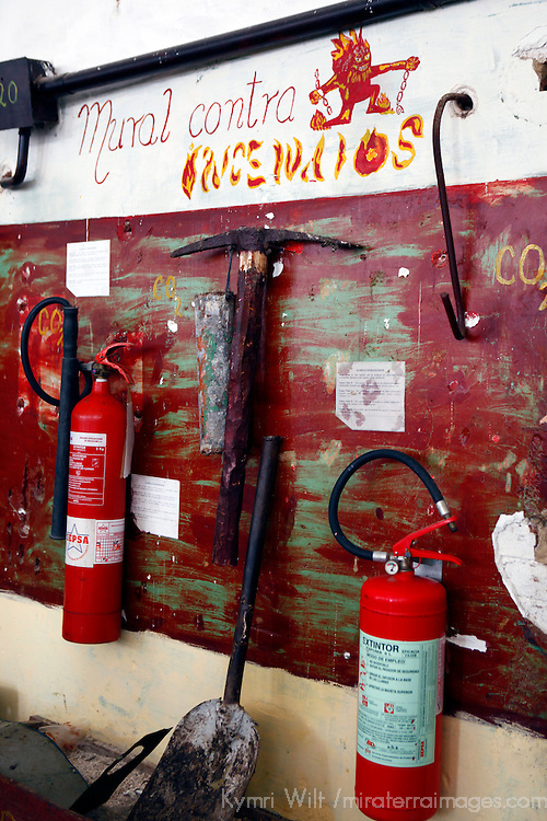 Central America, Cuba, Caibarien. Fire Safety Board in Cuban Print Shop.