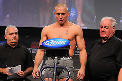 Montreal, Quebec, CAN - November 16, 2012: UFC Welterweight Champion Georges St. Pierre weighs in for his main event bout against and Interim UFC Welterweight Champion Carlos Condit (not shown) at UFC 154 at New City Gas in Montreal, Quebec, Canada. (Ed Mulholland for ESPN.com)