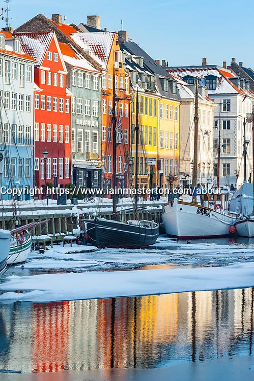 Nyhavn harbour in winter in Copenhagen, Denmark