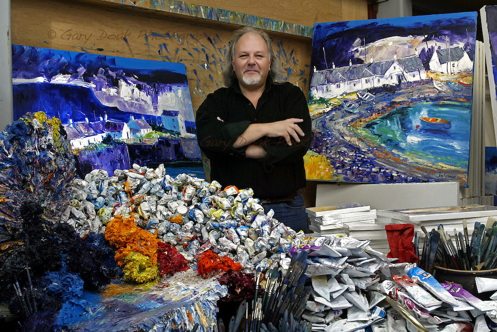 Scottish artist John Lowrie Morrison, also known as Jolomo in his studio in Tayvallich, Argyll, on the west coast of Scotland