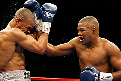January 19, 2008; New York, NY, USA;  Roy Jones Jr. (Silver trunks) and Felix Trinidad (Navy/Red trunks) trade punches during their 12 round light heavyweight bout at Madison Square Garden in New York, NY. Jones Jr. won the bout via unanimous decision .