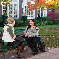Megan Forristall and Estefany Vega, fall campus scenes, Allison Corona photo.