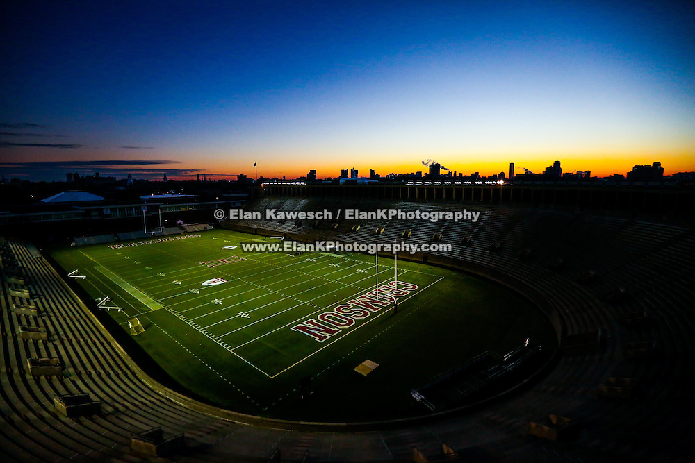 """The Harvard football team plays against Yale in the 131st playing of """"The Game"""" at Harvard Stadium on November 22, 2014 in Boston, Massachusetts. (Photo by Elan Kawesch/Harvard University)"""