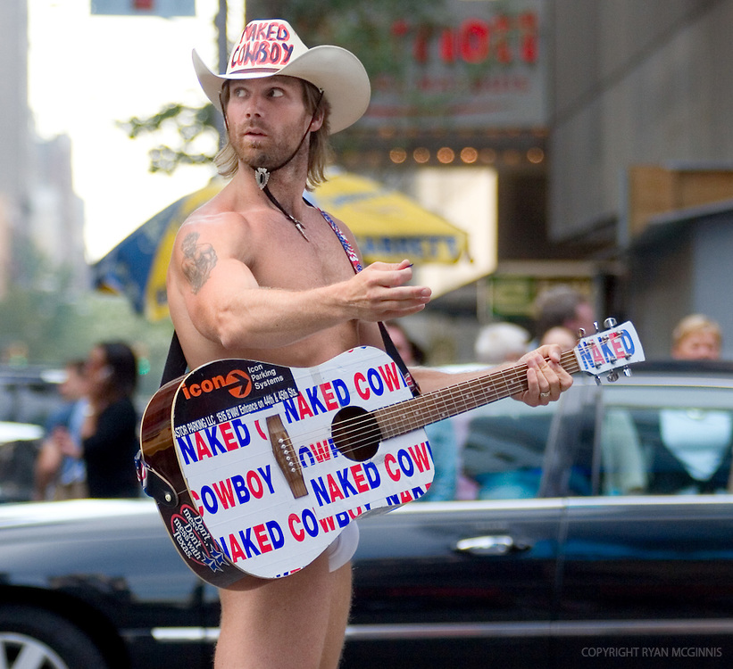 The Naked Cowboy, Times Square, New York City, August 15, 2006.  This image is licensed under the creative commons license.  No model release is available.
