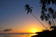 Sunset with palm trees at Kiowea Park near Kaunakaki, Molokai, Hawaii, USA