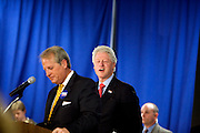 Bill Clinton winks into the audience before speaking on behalf of his wife Hillary Clinton during her campaign for president at Myrtle Beach High School several days before the South Carolina Democratic Primary scheduled for January 26, Myrtle Beach, South Carolina, January 23, 2008.