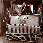 Conductors on a trolley car, possibly San Francisco, California, circa 1900