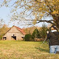 Photographer, Ozark Mountains, Buffalo National River, Arkansas, autumn, historic barn