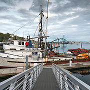 The fishing boat Sunnfjord ties up at the transient dock briefly in Port Angeles Harbor. She has seen better days.