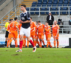 Forfar Athletic's Iain Campbell (3) celebrates after scoring their first goal..half time : Falkirk v Forfar Athletic, Scottish Cup fifth round tie, 2/2/2013. .©Michael Schofield.