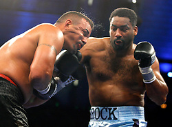 June 2, 2007; Atlantic City, NJ, USA;  Calvin Brock (light blue trunks) defeats Alex Gonzalez via 8 round decision at Boardwalk Hall in Atlantic City, NJ.