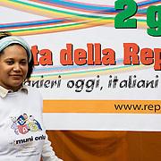 Torino, Italy, June 2nd, 2011. Festival of multi-ethnic Republic of Turin..Simone Maria Da Conceicao, Italian-Brazilian, was a finalist in the social responsibility category of 2010 edition of The MoneyGram Award..Ms Da Conceicao has founded in 2009 the Muni Onlus (National Union Movement and Interethnic), non-profit association that works to promote integration, build a multiethnic society against racism. Founded on the economic contribution of members, Muni Onlus is planning to create a television program and a web television....Torino, Itallia, 2 giugno 2011. Festa della Repubblica Multietnica di Torino. Simone Maria Da Conceiçao, italo-brasiliana, è stata finalista all'edizione 2010 del premio The MoneyGram Award nella categoria Responsabilità sociale..Ms Da Conceicao ha fondato nel 2009 la Muni Onlus (Movimento e Unione Nazionale Interetnica), associazione no profit che si occupa di promuovere l'integrazione, la lotta contro il razzismo e la costruzione di una società multietnica. Fondata sul contributo economico dei soci, ha in progetto anche la creazione di un programma televisivo e una televisione via web.
