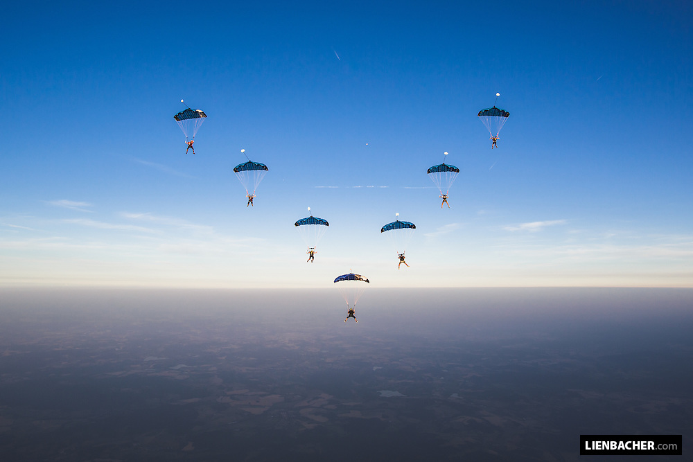 A 7 way high performance canopy formation above Klatovy, led by PD Factory Team Member Pablo Hernandez, all flying the same wing, the new Performance Designs Valkyrie.