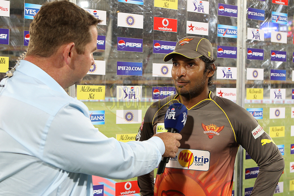 Kumar Sangakkara interviewed after the match during match 3 of of the Pepsi Indian Premier League between The Sunrisers Hyderabad and The Pune Warriors held at the Rajiv Gandhi International  Stadium, Hyderabad  on the 5th April 2013..Photo by Ron Gaunt-IPL-SPORTZPICS..Use of this image is subject to the terms and conditions as outlined by the BCCI. These terms can be found by following this link:..http://www.sportzpics.co.za/image/I0000SoRagM2cIEc