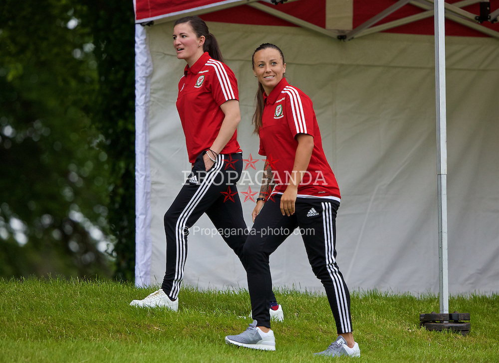 CARDIFF, WALES - Wednesday, June 1, 2016: Wales women's players Helen Ward and Natasha Harding during a training session at the Vale Resort Hotel ahead of the International Friendly match against Sweden. (Pic by David Rawcliffe/Propaganda)