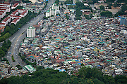 An area of Yongsan-gu, south-west of Namsan Park seen from the Seoul Tower..Seoul, South Korea, 2007