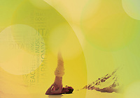 Spiritual Sarvangasana. Photo-illustration