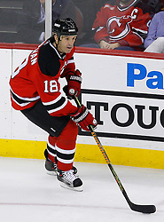 Jan 21, 2008; Newark, NJ, USA; New Jersey Devils left wing Brendan Shanahan (18) skates with the puck during the third period at the Prudential Center. The Devils defeated the Canadiens 5-2.