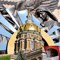 Iowa State Capitol Building Composite in Des Moines, Iowa<br /> Four photos of Des Moines, Iowa are: The Soldiers' and Sailors' Civil War Monument; The 30 foot steel sculpture called &ldquo;Shattering Silence&rdquo; by James Ellwanger that recognizes a 1839 Supreme Court ruling to free slaves and give Robert Montgomery his freedom; The 275 foot, 23-karat gold dome of Iowa&rsquo;s State Capitol built in 1886; and The Holliwell covered bridge that was built in 1880 and was featured in the 1995 movie &ldquo;The Bridges of Madison County.&rdquo;