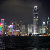 Asia, China, Hong Kong. Victoria Harbour by night.
