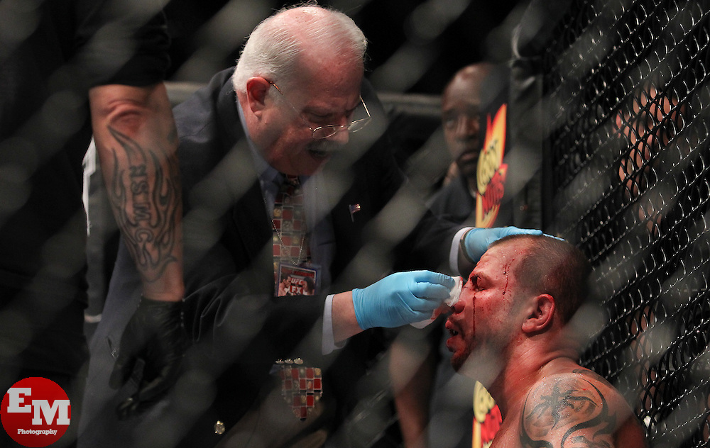 Atlantic City, NJ - June 22, 2012: Nick Catone bleeds from a cut caused by Chris Camozzi at UFC on FX 4 at Ovation Hall at Revel Resort & Casino in Atlantic City, New Jersey.